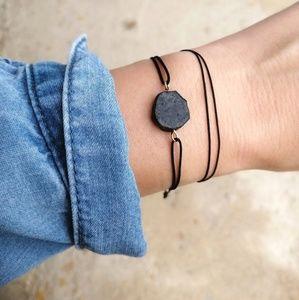 Raw black tourmaline bracelet